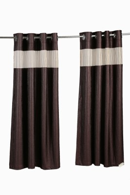 Store17 Polyester Brown Self Design Ring Rod Door Curtain