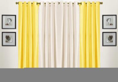 Pendu Art Polyester Yellow Plain Eyelet Long Door Curtain