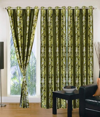 Home And Craft Polyester Green Printed Eyelet Door Curtain