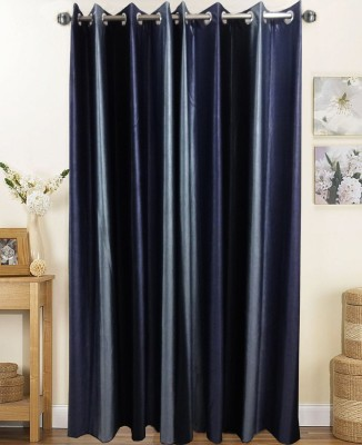 K Gallery Polyester Black, Grey Striped Eyelet Long Door Curtain