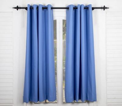 Maspar Cotton Blue Striped Eyelet Window Curtain