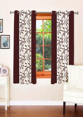 sajaawat Polyester dark brown Floral Eyelet Window Curtain