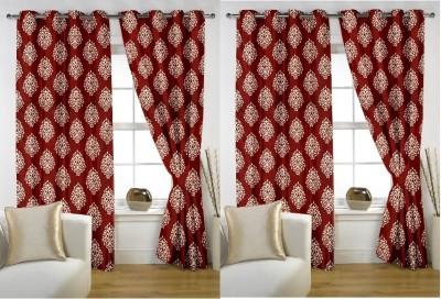 Rangoli Home Polyester Red Printed Eyelet Door Curtain