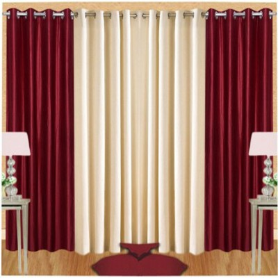 White Wave Polyester Maroon, Cream Plain Eyelet Door Curtain