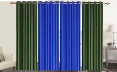 Furnishing Zone Polyester Blue, Green Plain Eyelet Long Door Curtain
