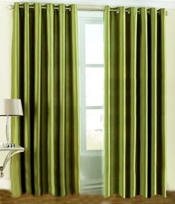 Fogg Polyester Green Solid Tab Top Door Curtain
