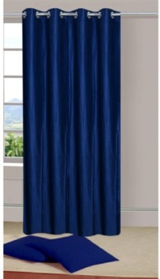 Handloom Hut Polyester Navy Blue Crush Solid Eyelet Window Curtain