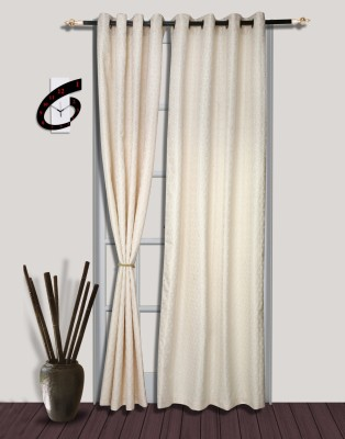 S9home by Seasons Polyester White Solid Eyelet Door Curtain