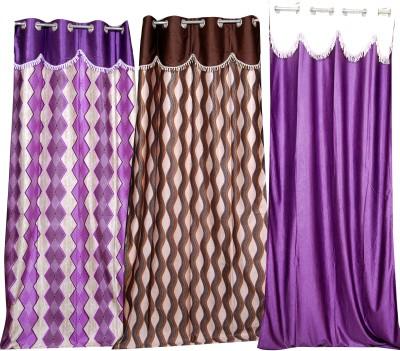 Indian Textiles Hl Silk Purple, Brown, Purple Self Design Ring Rod Long Door Curtain