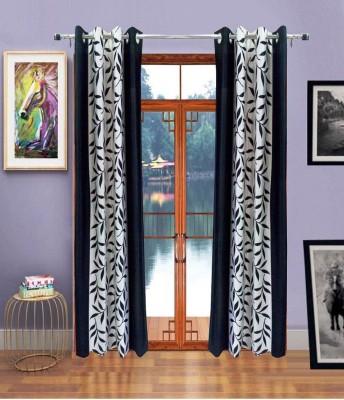 Handy Texty Polyester Black Printed Eyelet Door Curtain