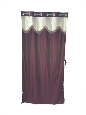 Ajratex Polyester Maroon, Yellow Solid Eyelet Door Curtain