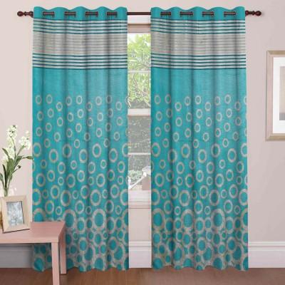 Mdf Curtains Polycotton Firozi Geometric Eyelet Door Curtain