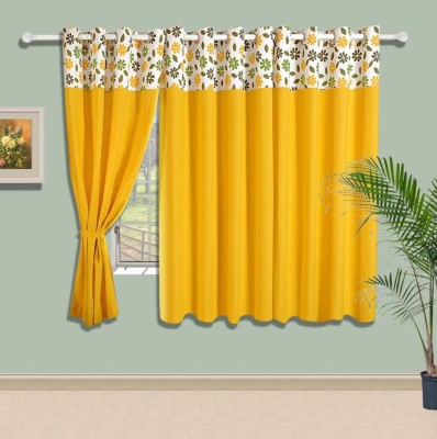 Swayam Cotton Yellow Solid Eyelet Window Curtain