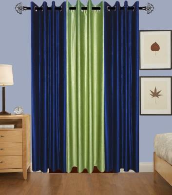 IndianOnlineMall Polyester Navy Blue, Green Plain Eyelet Long Door Curtain