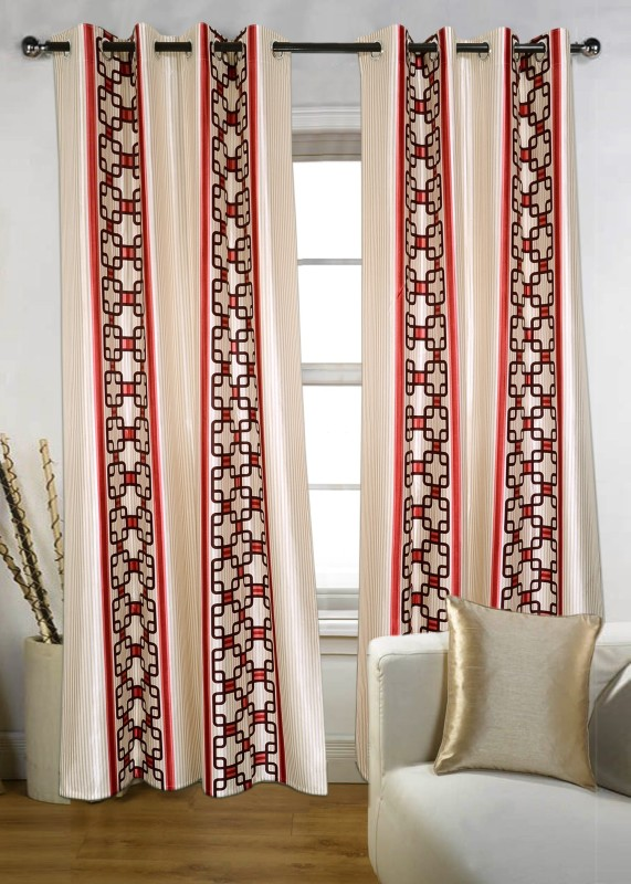 Jds Polyester Red Printed Ring Rod Door Curtain(212 cm in Height, Pack of 2)