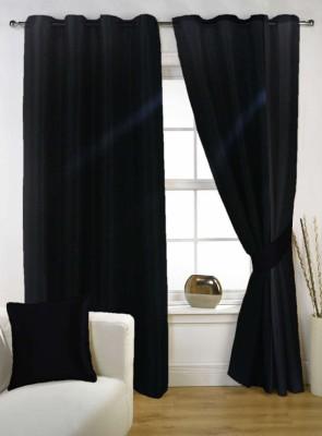 Kings Polycotton Black Printed Eyelet Door Curtain