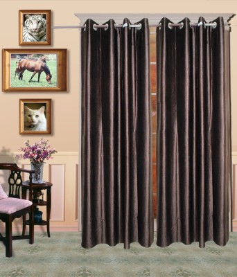 Madhav Product Polyester Brown Solid Eyelet Door Curtain