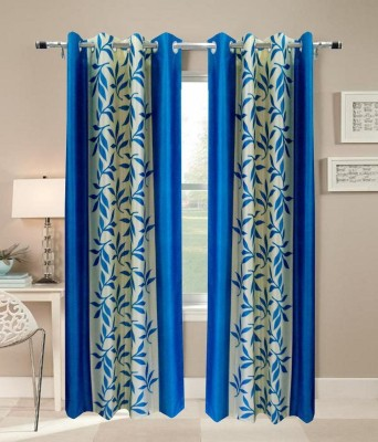 Shiv Fabs Polyester Blue Floral Ring Rod Door Curtain