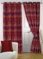 Story@Home Polyester Maroon Abstract Eyelet Door Curtain(215 cm in Height, Pack of 2)
