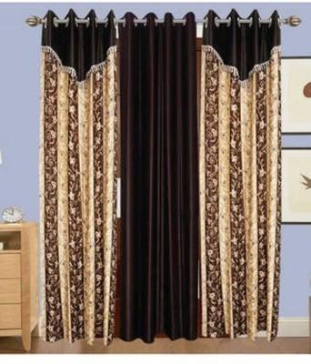 Maa Sharda Exports Polyester Multicolor Self Design Eyelet Window Curtain