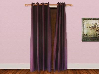 Veer Creations Polyester Purple Plain Eyelet Door Curtain