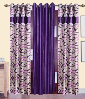 Jai Ganga Polyester Purple And Beige Printed Curtain Door Curtain