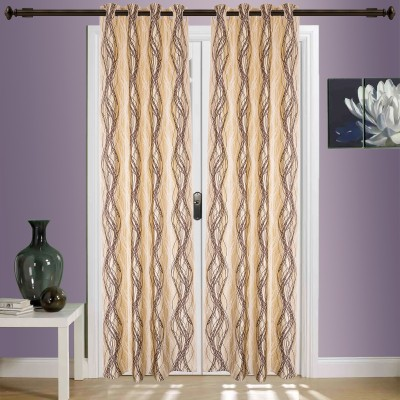 SWHF Cotton Beige Geometric Eyelet Window & Door Curtain