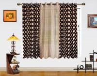 Dekor World Polyester Beige, Brown Motif Eyelet Window Curtain(152.4 cm in Height)