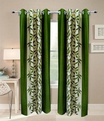 MSJ Polyester Green Printed Eyelet Door Curtain
