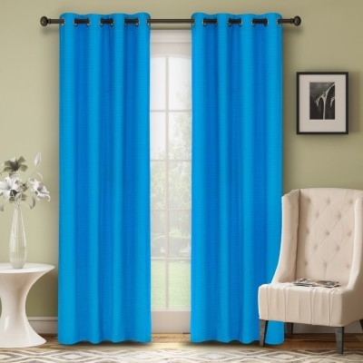 Soumya Polycotton Blue Plain Eyelet Long Door Curtain