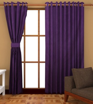 Profabhome Polyester Purple Solid Eyelet Window Curtain