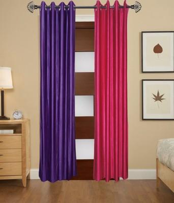ShopSince Polyester Multicolor Plain Eyelet Door Curtain