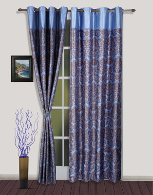 S9home by Seasons Polyester Brown, Blue Solid Eyelet Door Curtain