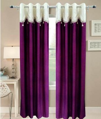 Pag Polyester Purple Plain Eyelet Door Curtain