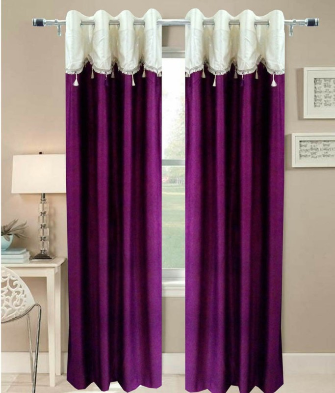 Pag Polyester Purple Plain Eyelet Window & Door Curtain(210 cm in Height, Pack of 2)