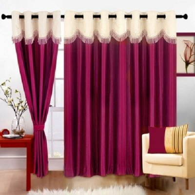 Z Decor Polyester Maroon Solid Eyelet Door Curtain