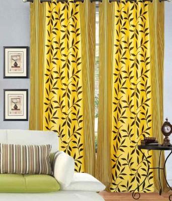 HandloomVilla Polyester Yellow Floral Eyelet Door Curtain