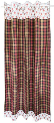 Adt Saral Cotton Multicolor Checkered Ring Rod Long Door Curtain