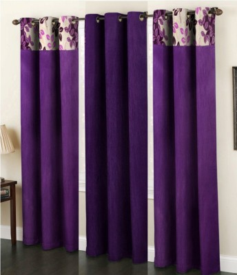 La elite Polyester Purple Abstract Eyelet Long Door Curtain