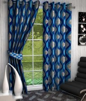 curtainhub Polyester Blue Floral Eyelet Long Door Curtain(274 cm in Height, Pack of 2)