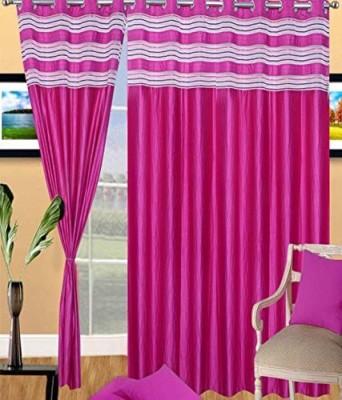 jai ganga curtains Polyester Multicolor Plain Curtain Door Curtain