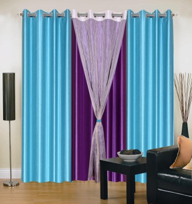 Shopgrab Polyester Light Blue Solid Eyelet Door Curtain