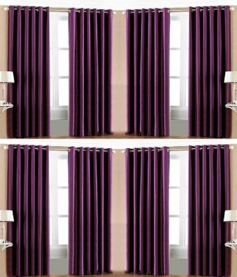 BLUE EYE Polyester Purple Plain Eyelet Door Curtain