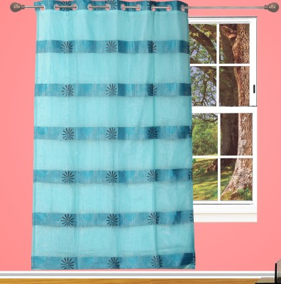 Edit One Tissue Blue Floral Rod pocket Window & Door Curtain