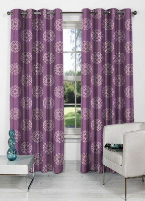 NuHome Decor Polyester Purple Abstract Eyelet Window Curtain