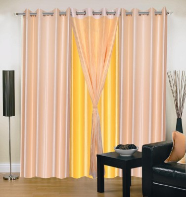 Shopgrab Polyester Beige, Yellow Solid Eyelet Door Curtain