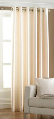 OfferIndia Polyester Light Yello Creem Plain Eyelet Long Door Curtain