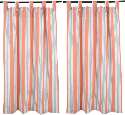 Elite Home Cotton Multicolor Striped Ring Rod Window Curtain