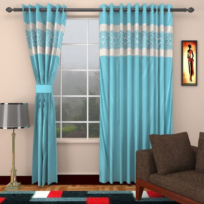 kart4smart Silk Light Blue Plain Curtain Window & Door Curtain