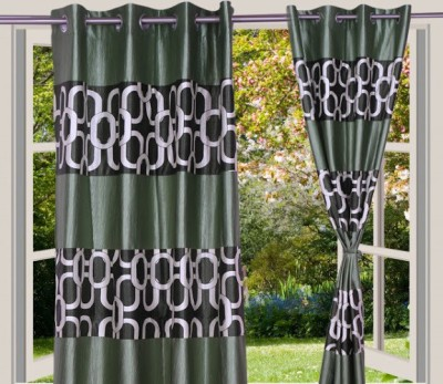 Desire Polyester Green Geometric Eyelet Window Curtain